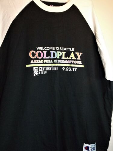 COLDPLAY Seattle HFOD TOUR Champion Brand CENTURY LINK SHIRT - 2XL NEW Unused
