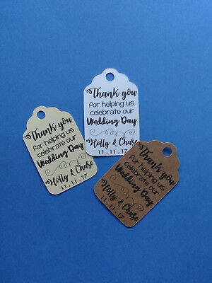 20 personalized favor tags. Thank you for helping us celebrate our wedding day! - Wedding Favor Tags
