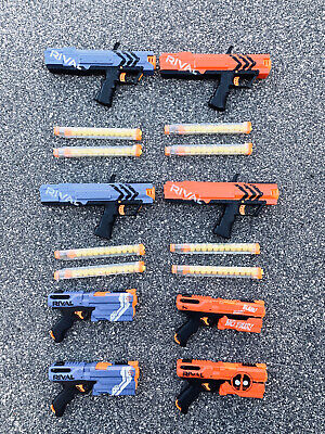 NERF Rival Apollo Kronos Blaster Lot - Red Blue Guns Extra Large Clips Magazines