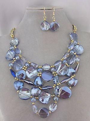 Blue Glass Crystal Bib Necklace Earrings Set Fashion Jewelry NEW Statement