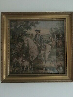 Tapestry picture of hunting scene. Man on horseback with dogs.