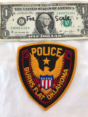 Rarer Burns Flat Oklahoma Police Patch Un-sewn Patches Hard to find