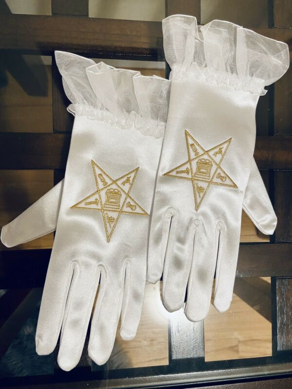 New Eastern Star Satin Gloves with Chiffon