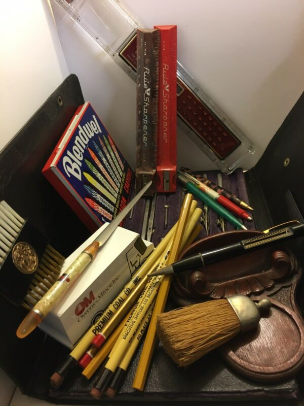 OLD JUNK DESK DRAWER LOT ADVERTISING PENCILS FRENCH DRAFTING SET CRAYON TIN