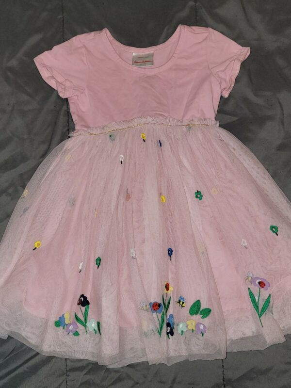 Hanna Andersson Girls Pink Embroidered Summer Dress 110 5