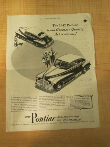 1942 Pontiac The Saturday Evening Post Vintage Magazine Advertisement /Articles