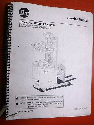 1998 Bt Prime Mover Rrx3545 Rdx30 Rsx4050 Stand Up Rider Truck Service Manual