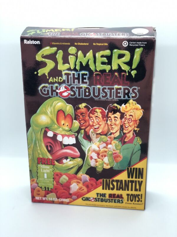 RARE Vintage 1990 REPRODUCTION SLIMER! The REAL GHOSTBUSTERS empty cereal box