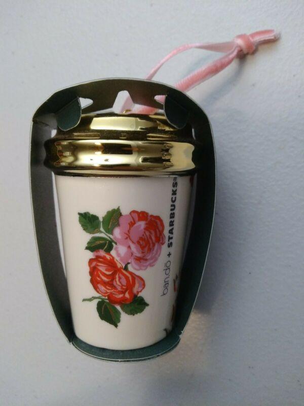 2018 Starbucks Bando Floral Roses Christmas Holiday Ornament Ceramic New lmtd ed