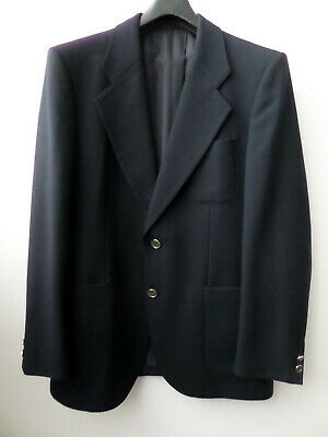 VINTAGE MARSDEN INTERNATIONAL NAVY MENS PURE NEW WOOL BLAZER JACKET SIZE L