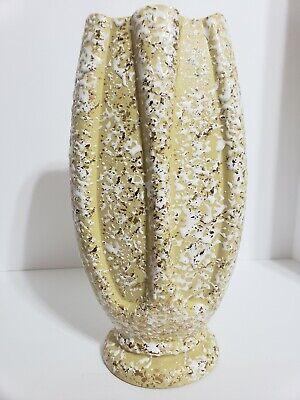 Mid Century Modern Yellow White Gold Speckled Glaze Studio Art Pottery Vase