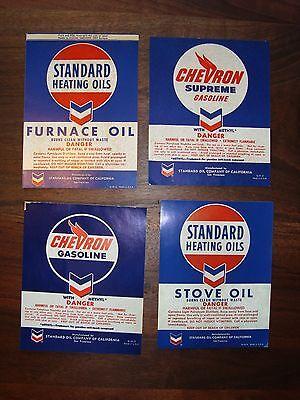 4 -Vintage Original Standard Chevron Bulk Tank Labels  Great Color