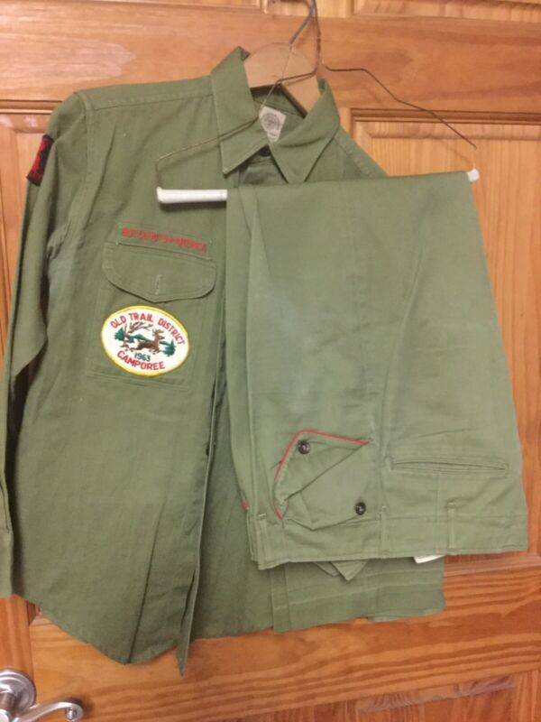 Vintage 60's Boy Scouts Uniform Long Sleeve Shirt And Pants