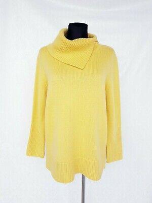 Jane Taylor Yellow Womens Jumper sz 46 Merino Wool Blend High Neck Elegant