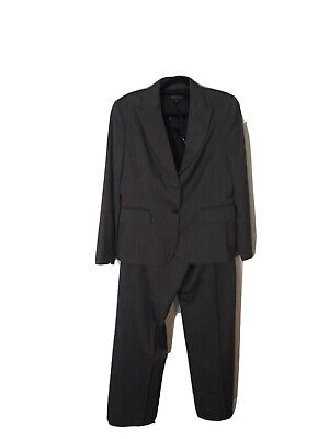 Women's 2 Piece Pants Suit Kasper size 14 Gray multicolor