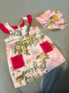 Toddler pink real tree cabelas dress and hat