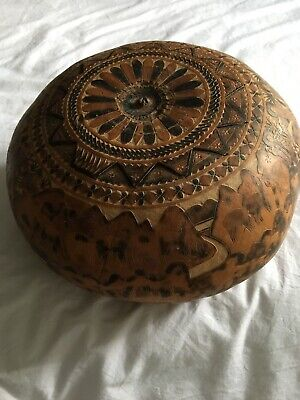 Antique Box Peru Gourd Calabash Carved Storyteller Old Peruvian Box