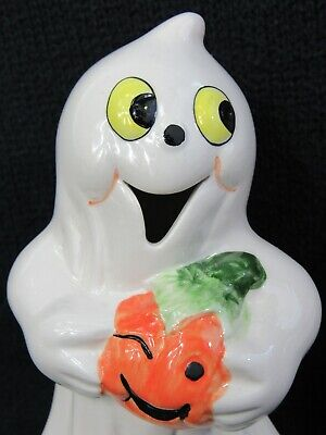 """New!! K's Collection 5.5"""" HALLOWEEN CERAMIC GHOST HOLDING WINKING PUMPKIN"""