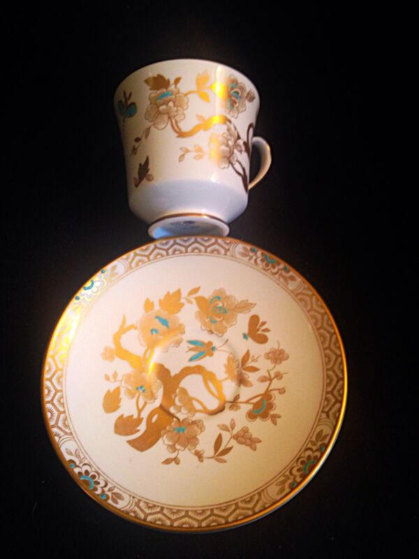 Coalport Gold And Turquoise Tea Cup And Saucer