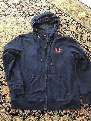 TRUE RELIGION Blue Hoodie Sweatshirt Horseshoe Classic logo Zip-Up jacket Xl Blue Classic Logo Hoody Sweatshirt