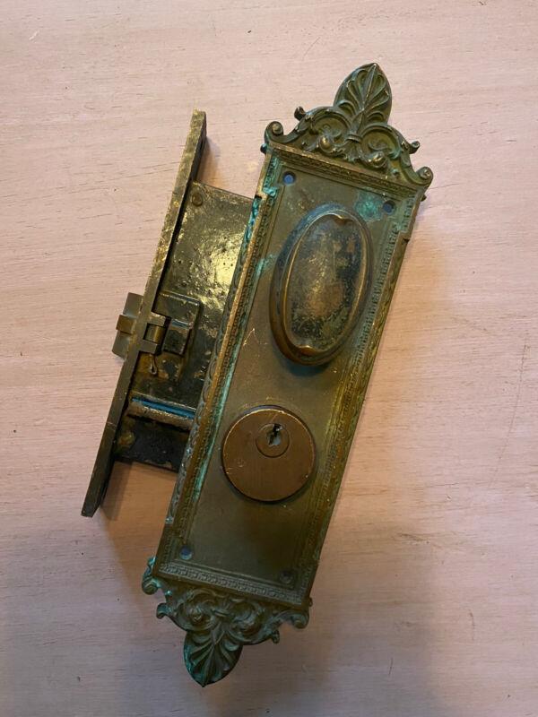 Ornate Mortise Door Lock Set ~ Corbin Brass ~ Plate & Knob ~ No Key