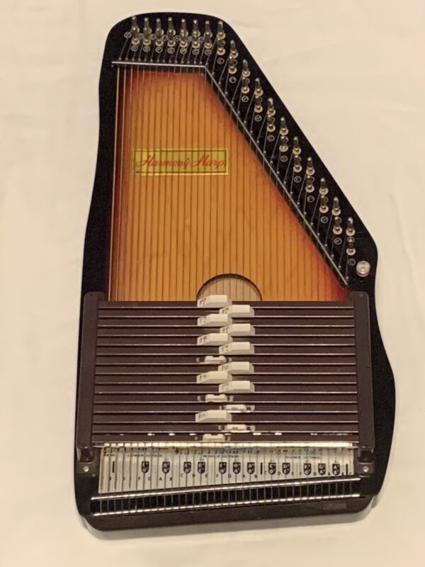 VINTAGE-1960's-Folk-36 String/15 Chord-Black Brown Cherry Red Harmony Auto Harp