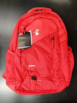Under Armour Hustle 4.0 Backpack Red Silver NWT $55 MSRP