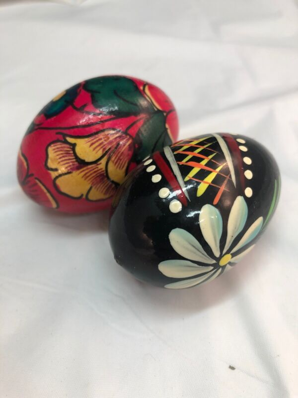 """Pair of 2 Hand Painted Wood Wooden Decor Vintage Floral Colorful Eggs 2.25"""" Long"""