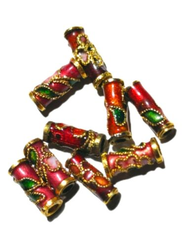 Lot Of 9 Vintage Chinese Cloisonne Tube Beads