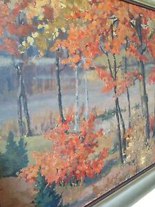 Canadian W.H. Wright pre 1950 mid century oil painting  listed