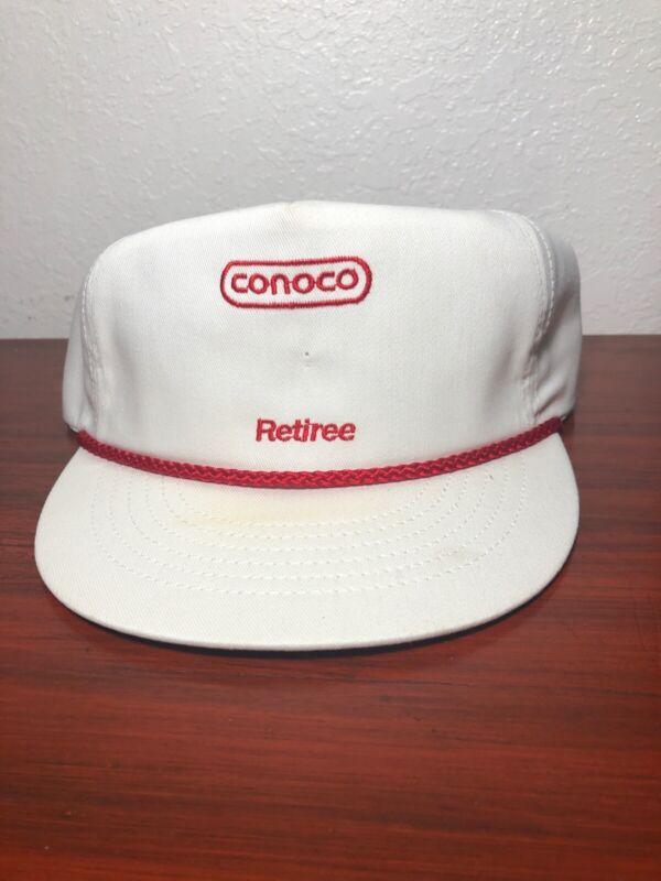 Vintage CONOCO Retiree Gas Station White Snapback Trucker Hat Cap