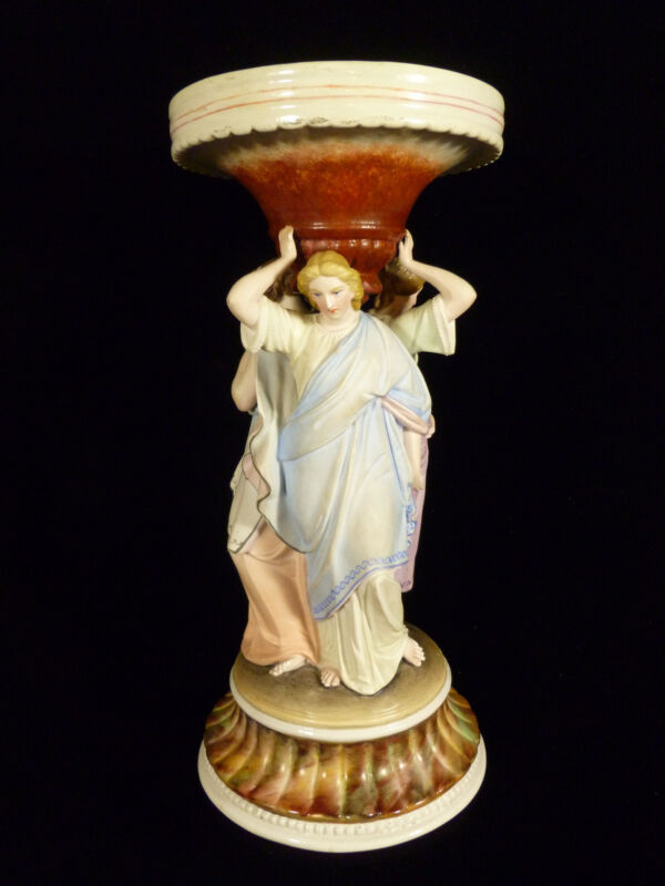 19th C. CONTINENTAL EUROPEAN FIGURAL THREE GRACES PEDESTAL BOWL OR CANDLE HOLDER
