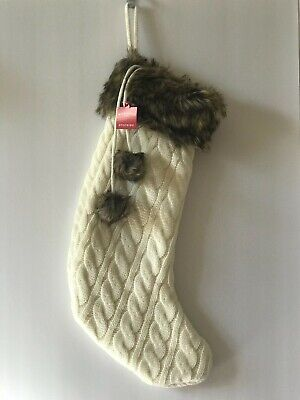 Knit Christmas Stockings (CABLE KNIT CHRISTMAS STOCKING FAUX FUR CUFF POM POMS 18