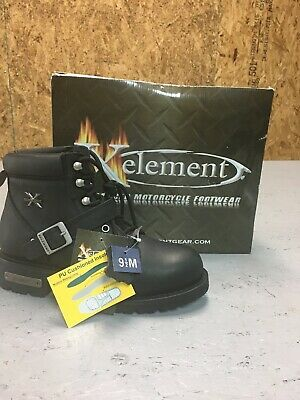 Xelement Black Leather Motorcycle Boots  Women's  9.5 (#LU2469)