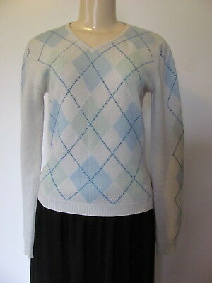 REBECCA MOSES 100% CASHMERE CREAM BLUE/MINT GREEN ARGYLE V-NECK SWEATER SIZE (Mint Cashmere Cream)