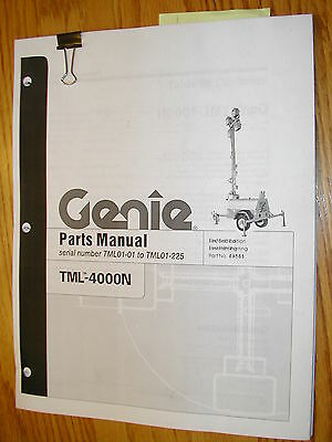 Genie Tml-4000n Light Tower Parts Manual Book Catalog Towable Generator 69881