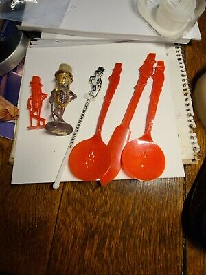Vintage Mr Peanut Lot Of 7 Pc's Spoons Knife And Others