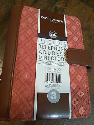 Day Runner Poetica Telephone Address Directory 3 Binder Organizer Orange Brown