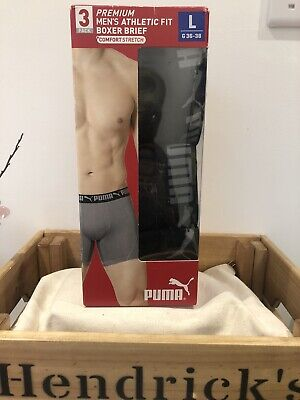 Puma Premium Mens Athletic Fit Comfory Stretch Boxer Briefs 3 Pack Large