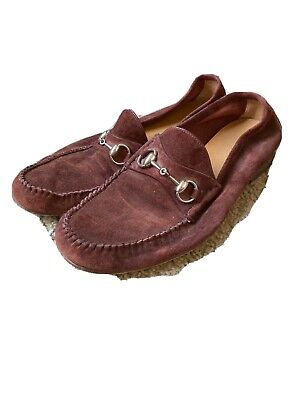 Gucci Vintage Burgundy Suede Loafers Mens Size 8.5