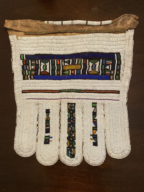"""Five-panelled Ndebele """"Jocolo"""" beaded (lazy Stitch) apron 20 X 24 Inches"""
