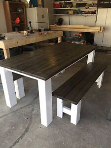 Rustic style kitchen table and benches.