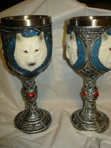 """Lot of 2 Lone Wolf Goblet 7 1/2""""  BY NEMESIS NOW, Resin w/stainless steel insert"""