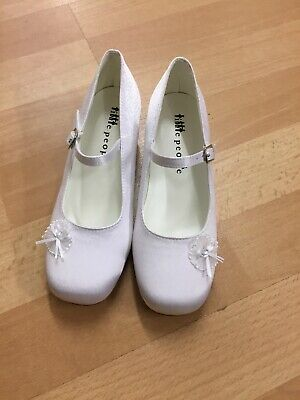 White Girls Shoes Holy Communion Flower Girl Size 3