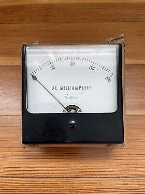 Vintage Simpson Dc Milliamperes Milliamps Panel Meter Gauge