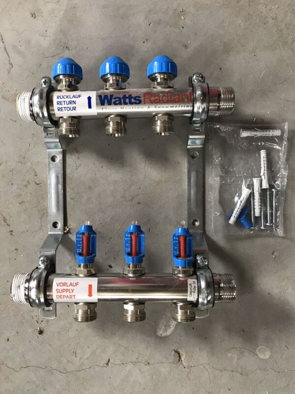 Watts Stainless Steel 3 Branch Radiant Manifold MBSP D3803003SS Used