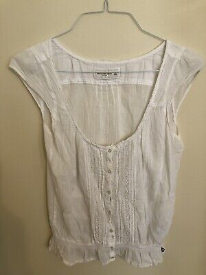 Abercrombie & Fitch Womens White Button-down Sleeveless Shirt Pleated Front Sz L