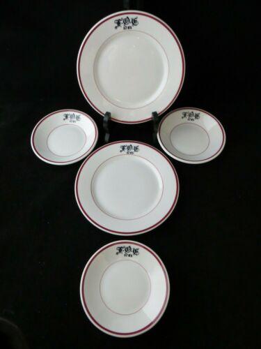 FRATERNAL ORDER OF EAGLES.China F.O.E. Restaurant set of 5 Plates & Bowls