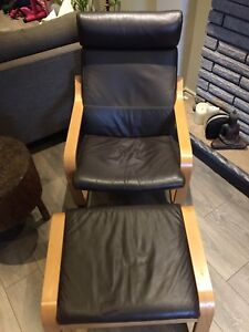 2 brown leather IKEA Poang chairs and 1 ottoman