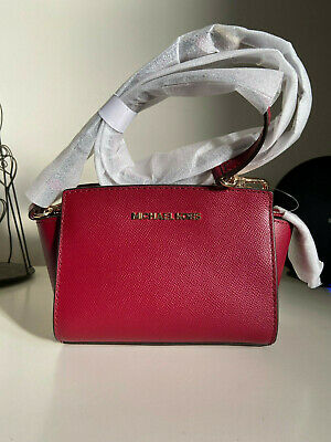 Brand New Michael Kors Mini Selma Leather Crossbody Bag, Maroon